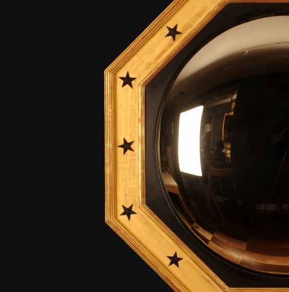 English Georgian Gilt Octagonal Convex Mirror Regency Style Gold Leaf with Ebonised Details