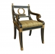 A291 Regency Ebony and Gilt Armchair
